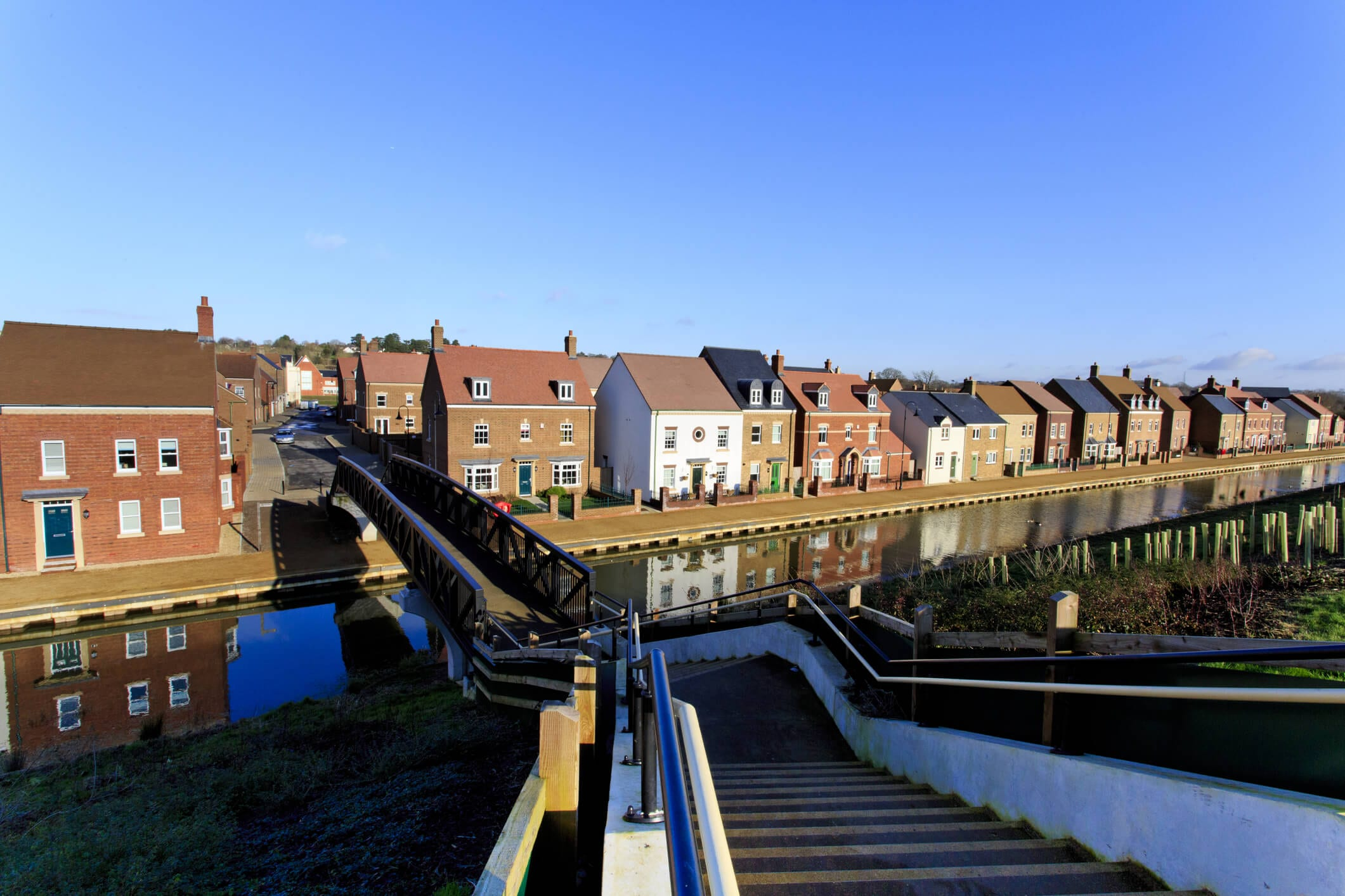 Footbridge leading to a new housing estate